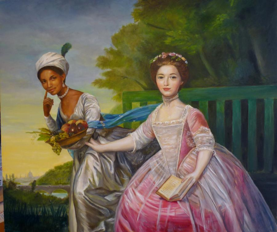 Dido Elizabeth Belle, daughter of a Royal Navy officer and a West Indian slave, known as Maria Belle – with Lady Elizabeth Murray. Image: English Heritage