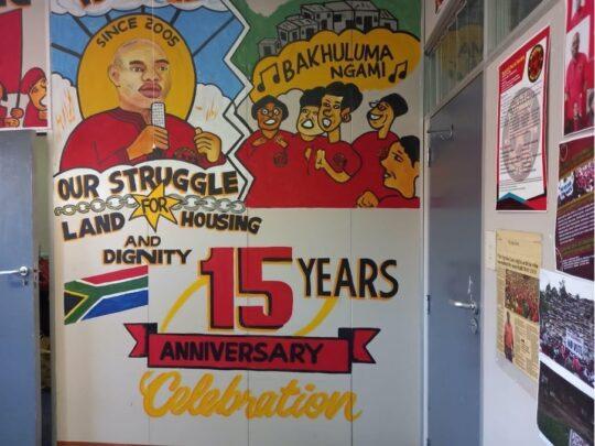 Mural Celebrating Abahlali Basemjondolo's 15 years of existence. Photo Credit: Naledi Sikhakhane