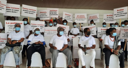 The women's protest at Cocody 7th Tranche, Abidjan, on 20th February 2021. Photo; Arnaud Houssou/7infoCI