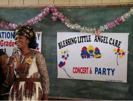 Coco Ngandu giving a speech at an event her day care centre had in KwaZulu-Natal capital city of Pietermaritzburg, 2017