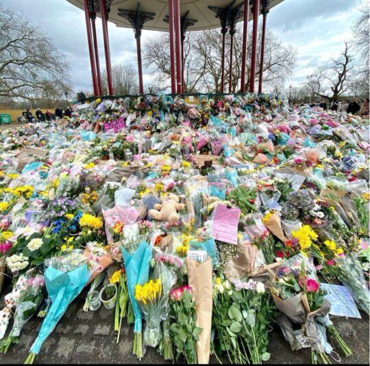 Caption: Tributes to Sarah Everard, Clapham Common, London. Credit: Tatiana Livesey